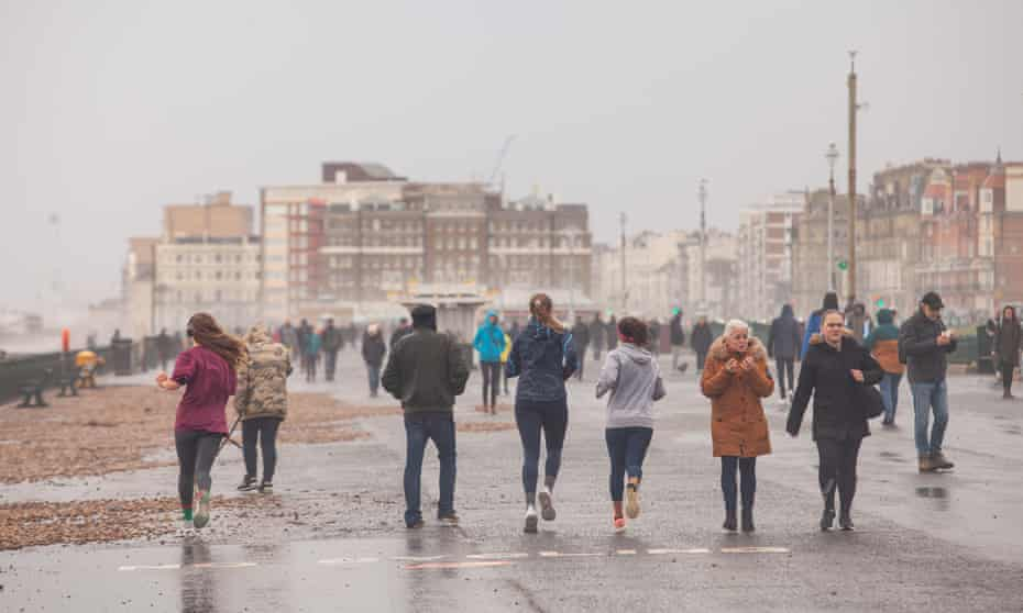 Runners and walkers on Hove seafront on Saturday.