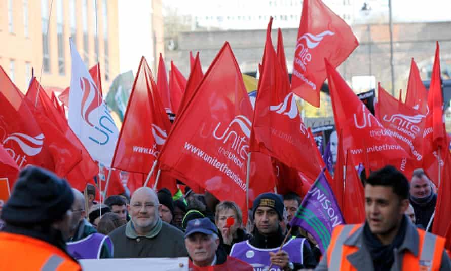 Public sector workers march in Birmingham in 2011.