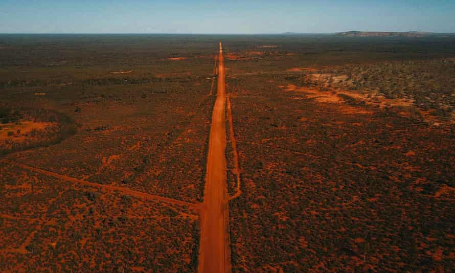 An aerial view of an outback road