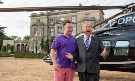 Lee Boardman as Arron Banks and Paul Ryan as Nigel Farage in Brexit: The Uncivil War.