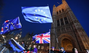 Flags outside the Houses of Parliament ahead of the Tory no-confidence vote.