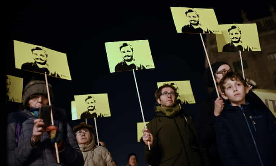 A January 2020 demonstration in Turin marks 4 years since the killing in Egypt of the student Giulio Regeni.
