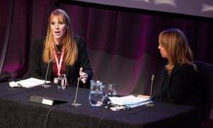 Shadow education secretary Angela Rayner in conversation with The Guardian's editor-in-chief Katharine Viner at the Labour party conference.