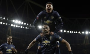 Anthony Martial celebrates with Jesse Lingard after the third goal.