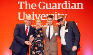 Host Lauren Laverne and Murray Simpson from Net Natives present the IMarketing and communications campaign (supported by Net Natives) award to the University of Sheffield at the Guardian University Awards 2017 held at LSO St Luke's in Old Street, London. 29 March 2017