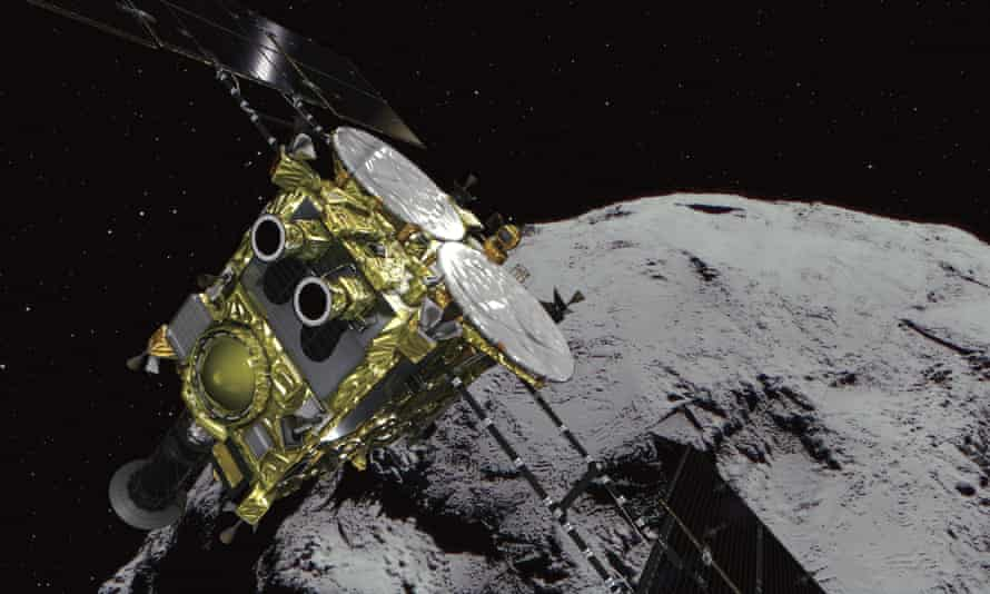 Japan's unmanned spacecraft Hayabusa2 released two small rovers on the asteroid Ryugu in 2018, as part of research into the origins of the solar system.