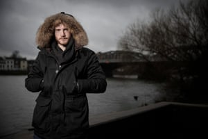 George Groves the boxer poses for a portrait by Barnes railway bridge