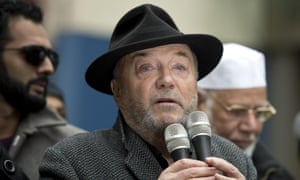 George Galloway speaking at a counter-protest held near a demonstration by the UK branch of the German anti-immigration group Pegida in Newcastle.