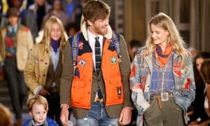 Models on the catwalk at Ralph Lauren show in New York fashion week.
