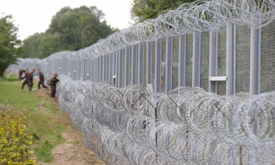 Hungary has built a fence at its border with Serbia