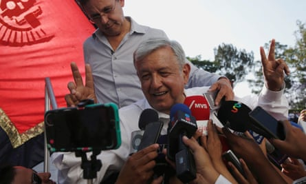 Andrés Manuel López Obrador speaking to the media after a campaign rally in Mexico on 20 April.