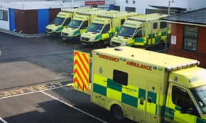 Ambulances parked outside a hospital in the UK