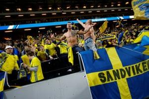 Sweden fans celebrate at full time.