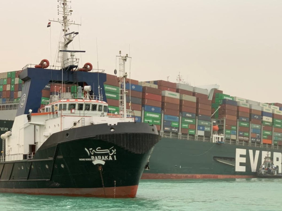 Suez canal traffic jam builds as work to move megaship continues | Water  transport | The Guardian
