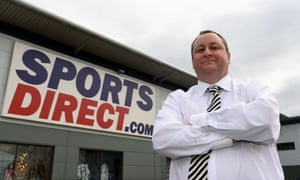 Sports Direct founder Mike Ashley outside its headquarters in Shirebrook, Derbyshire.