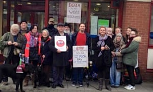Charlotte Hughes and others outside the jobcentre in Ashton-under-Lyne