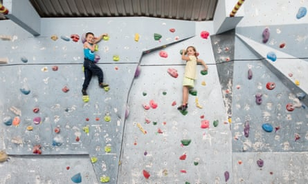 Scaling the heights … Melody and Bastian, seven.