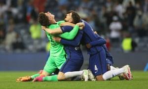 Chelsea's Kepa Arrizabalaga, Jorginho and Andreas Christensen celebrate after winning the Champions League.