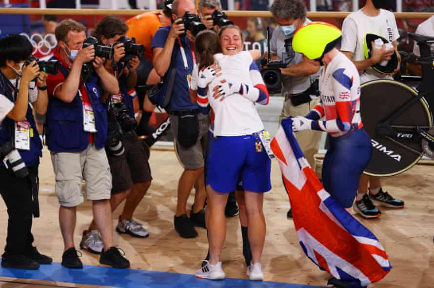 Katie Archibald and Laura Kenny are congratulated after their gold.