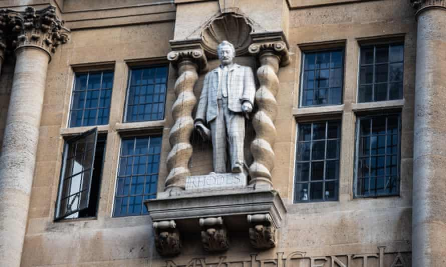 The statue of Cecil Rhodes at Oriel College, University of Oxford