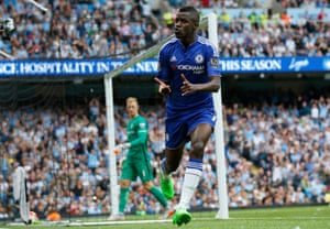 Ramires celebrates after scoring a goal which is later disallowed.