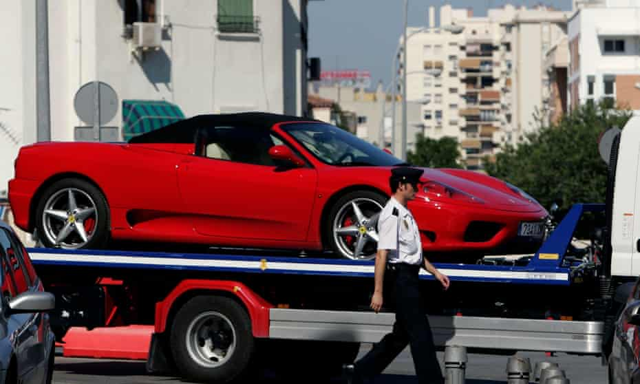 A Ferrari confiscated after an operation against the Russian mafia in Marbella.