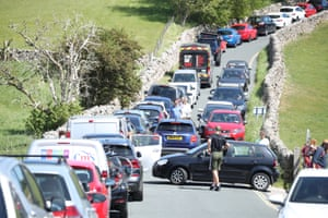 Burnsall, Yorkshire Traffic snakes around the Yorkshire Dales as people make the most of the warm May weather