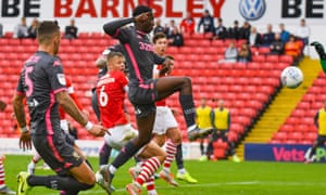 Eddie Nketiah, the striker on loan from Arsenal, scores Leeds United's opening goal against Barnsley after coming on as a substitute.