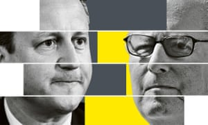 David Cameron and his father Ian Cameron. Guardian composite artwork for Panama Papers
