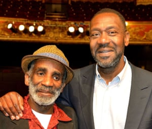 Larrington Walker, left, and Sir Lenny Henry, who starred together in Rudy's Rare Records at the Hackney Empire in east London.