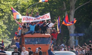 Armenian opposition supporters ride after protest movement leader Nikol Pashinyan announced a nationwide campaign of civil disobedience.