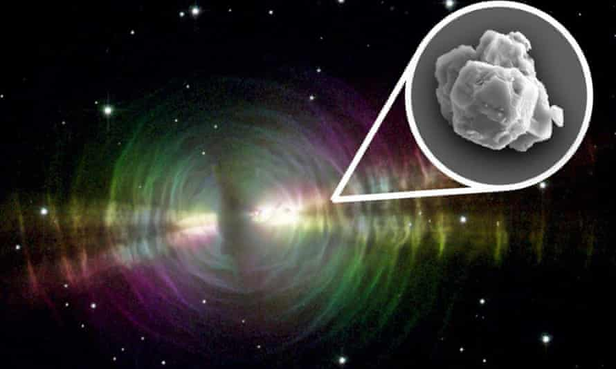 Image released by Nasa shows an example of a nebula and the presolar grains