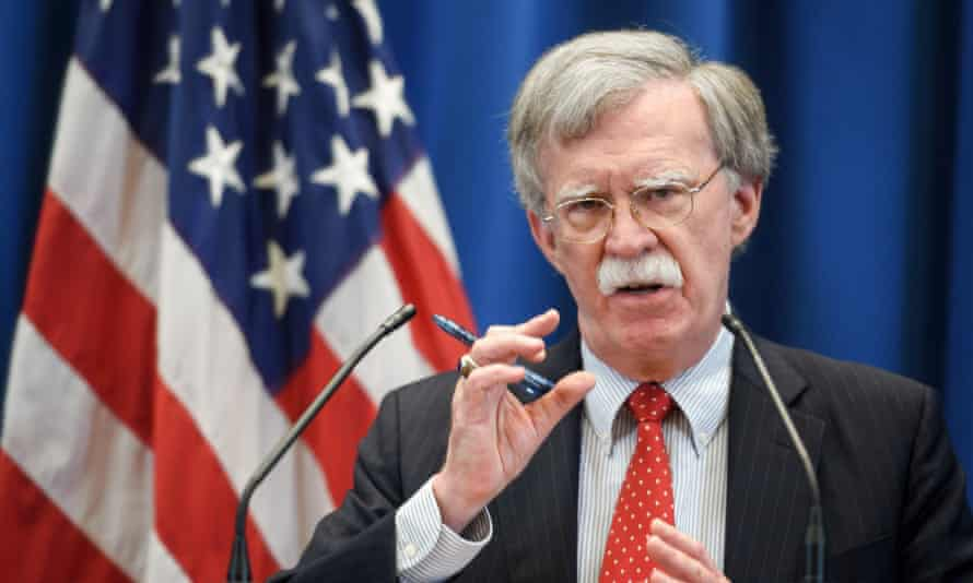John Bolton addresses a press conference following a meeting with his Russian counterpart in Geneva.