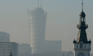 A blanket of smog lingers above Warsaw, Poland.