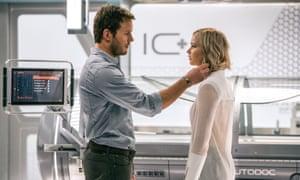 'Spicy chemistry': Jennifer Lawrence and Chris Pratt in Passengers.