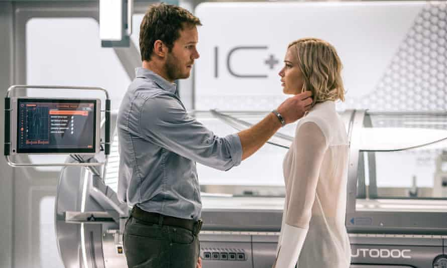 The trailer for the upcoming sci-fi romance Passengers promises 'Jennifer Lawrence and Chris Pratt getting it on. In space'.