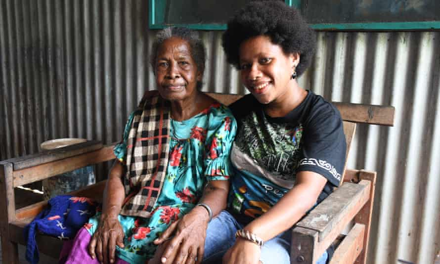 Esther Rumsowek (right), a high school teacher and Esther Kurni, 71, the mother of Toni Sapioper, who fled Jayapura with her seven children by outrigger canoe in 1984 after her home was surrounded by Indonesian soldiers.