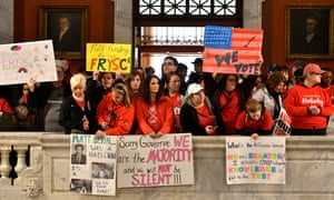 Teachers in Kentucky fill the state capitol to rally for increased funding on 2 April.