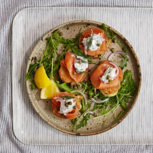 Breakfast blinis with smoked salmon.