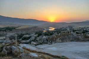 The sunset over the ancient town of Hasankeyf