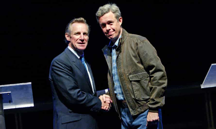 Nicholas Farrell as Tony Blair and Alex Jennings as George W Bush in the original production of David Hare's Stuff Happens at the National Theatre in 2004.