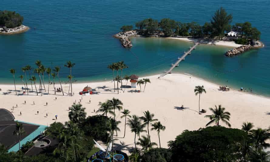 View of Siloso Beach on Sentosa Island.