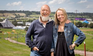 Michael and Emily Eavis, overlooking the Pyramid stage at Glastonbury festival.