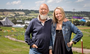 Michael and Emily Eavis at the festival site in 2017