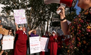 Pro-choice supporters protest as Alabama state senate votes on the strictest anti-abortion bill in the United States.