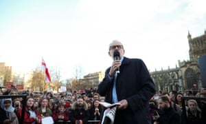 Jeremy Corbyn addressing a rally in Bristol.