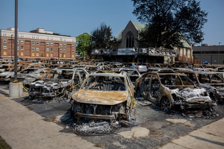 A used car lot that was destroyed during protests in Kenosha.