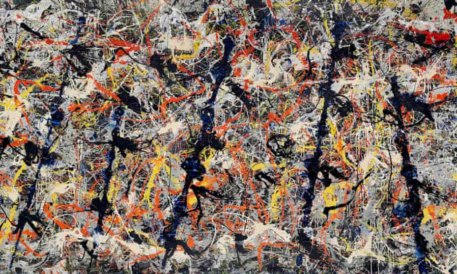 Detail of Blue Poles, 1952, by Jackson Pollock.