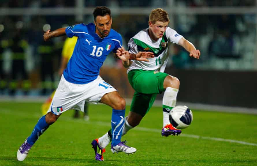 Gorman in action for Northern Ireland against Italy in a Euro 2012 qualifier in Pescara.
