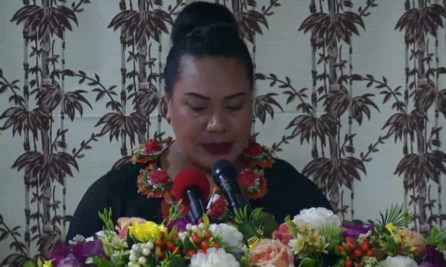 Princess Frederica Tuita speaks at a candlelight vigil held in Tonga by Polikalepo Kefu, the president of the Tonga Leitis Association, an organization dedicated to the country's LGBTQ + communities, which was assassinated in May.